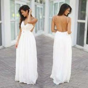 NWOT L'Artiste white cut out full length dress